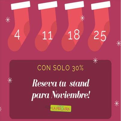 Hasta el próximo martes 12 de septiembre tienes oportunidad de reservar tus stand para las 4 fechas de noviembre con solo un abono del 30%. Asegura tu espacio y aprovecha la mejor época del año.