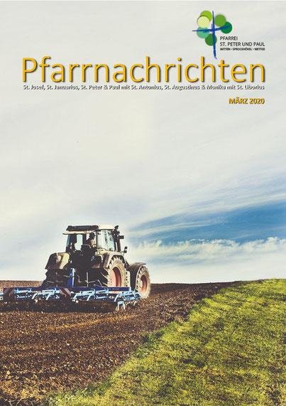 Titelseite der Pfarrnachrichten März 2020