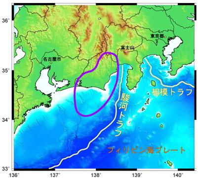 東海地震震源域想定図