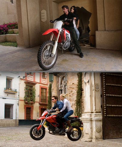 "Motorrad-Action x2: ""Bang Bang!"" vs. ""Knight and Day"" (unten)"