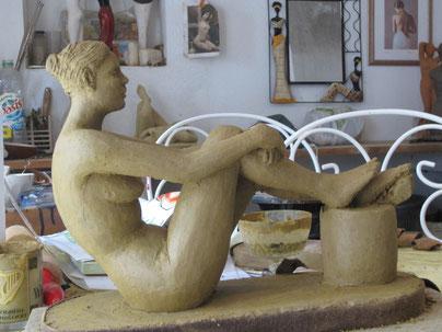 femme nue assise sculpture 2013.