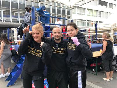 Yvonne Birker, Marco Spath (Coach), Virginia Wenger BOXING TEAM ITTIGEN powered by M's-Gym Bern, 2. LC-CUP 2018, 02.06.2018 Biel/Bienne (4 Kämpfe / 4 Siege)