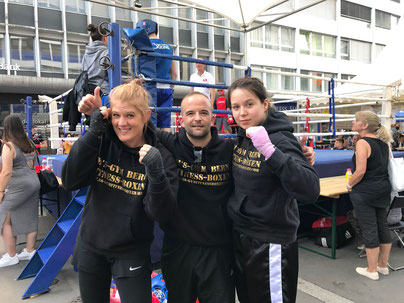 Marco Spath (Coach) mit Yvonne Birker und Virginia Wenger BOXING TEAM ITTIGEN powered by M's-Gym Bern, 2. LC-CUP 2018, 02.06.2018 Biel/Bienne (4 Kämpfe / 4 Siege)