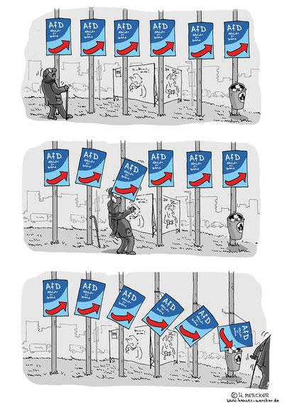 Tagesaktueller Comic zum Aufwärtstrend der AfD vor den Landtagswahlen März 2016
