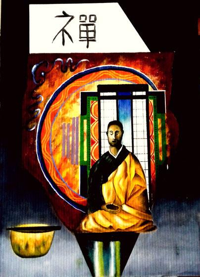 Zen monk   ei tempera op karton  120cmx80 cm
