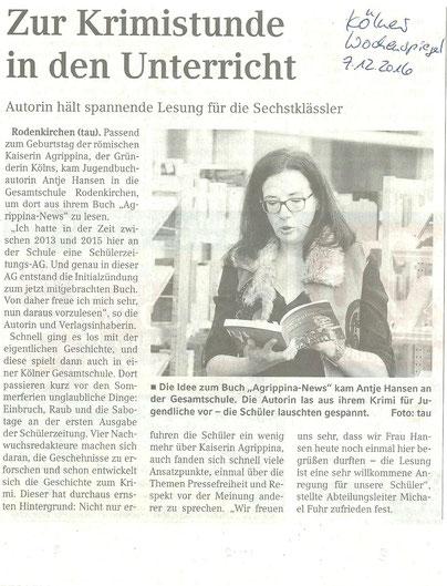 Kölner Wochenspiegel, Autorenlesung Antje Hansen, Agrippina-News in der Gesamtschule Rodenkirchen