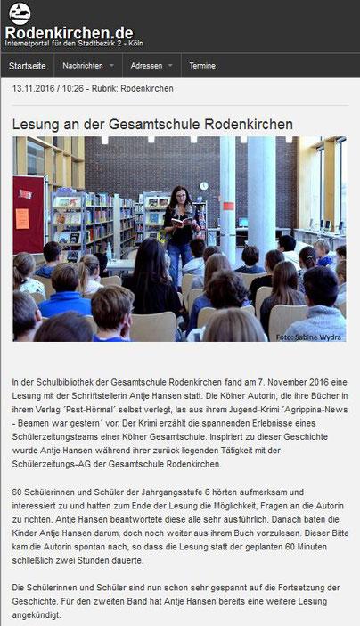 rodenkirchen.de, Agrippina-News beamen war gestern, Antje Hansen