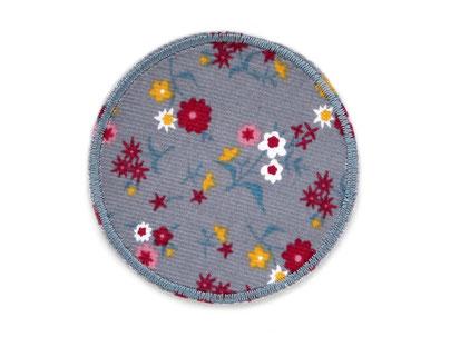 Bild: Cordflicken zum aufbügeln für Cordhosen, Hosenflicken aus Cord mit Blümchen grau, Bügelflicken für Mädchen
