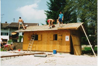 Bau der Fußballhütt'n im Juli 1987