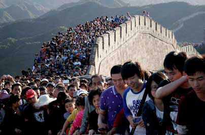 Die Grosse Mauer in Badaling zur Golden Week in der 1. Oktoberwoche