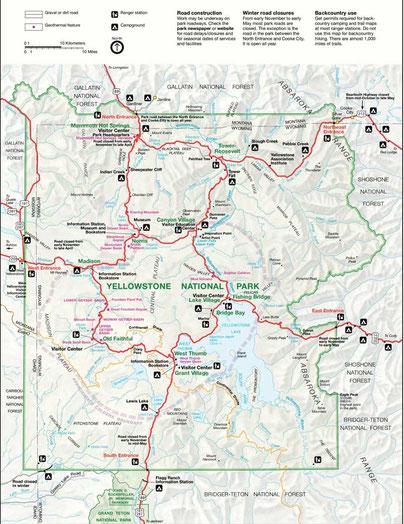Karte/ Reiseroute Yellowstone