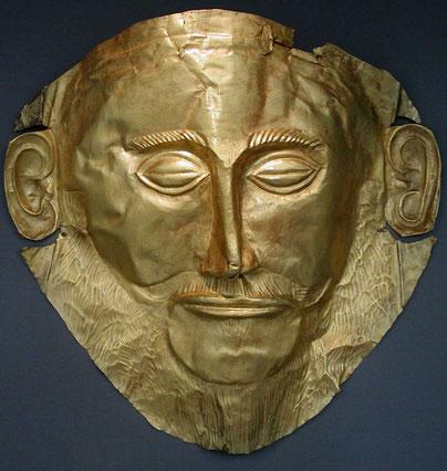 Mykenische Totenmaske, Foto Wikipedia Heinrich Schliemann