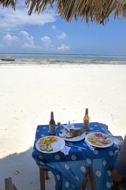 fresh fish beach restaurant Matemwe Beach Zanzibar