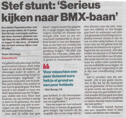 Artikel in katern Drechtsteden van het Algemeen Dagblad