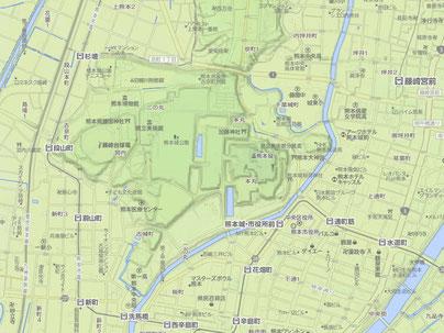 平山城 熊本城 YAHOO地図 地形図 ※画像クリックで拡大