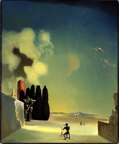 Пейзаж с загадочными элементами (1934) - Сальвадор Дали