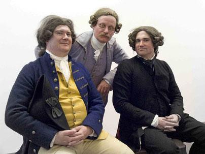 Die drei PartnerDr. Brand, Dr. Klöffler und K.Körver jeweils in Kleidung 2. Häfte 18. Jahrhundert
