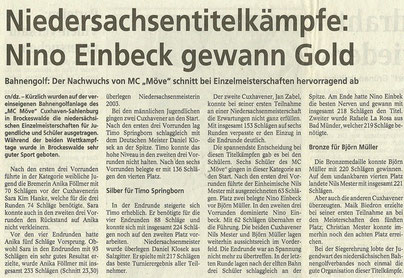 Artikel aus den Cuxhavener Nachrichten vom 9. 10.2003