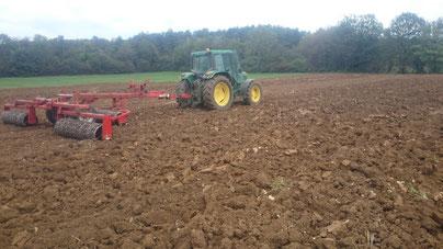 tractor que lavra a terra para plantar os bolbos orgânicos de açafrão