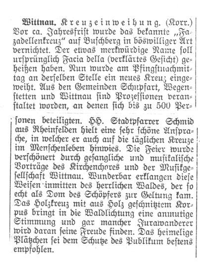 Ein Zeitungsartikel aus der «Chronik» (Sammelordner im Gemeindearchiv Wittnau)