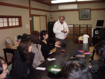松の屋旅館(国の有形登録文化財)で勝浦市観光協会渡辺会長からお話を伺いました。