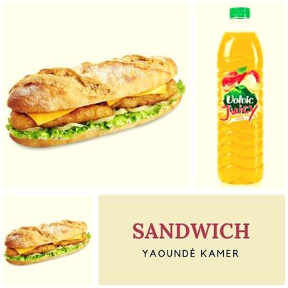 S-466-Sandwich Yaoundé k. + Boisson 1,25 CL. Prix : 3600 FCFA. Ajoutez 1 sandwich à 2500 FCFA