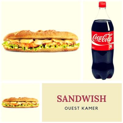 S-457-Sandwich Ouest k. + Boisson 1,25 CL. Prix : 2600 FCFA. Ajoutez 1 sandwich à 2000 FCFA