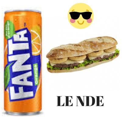 S-406-Sandwich LE NDE + Boisson 1,25 CL. Prix : 3600 FCFA. Ajoutez 1 sandwich à 3000 FCFA