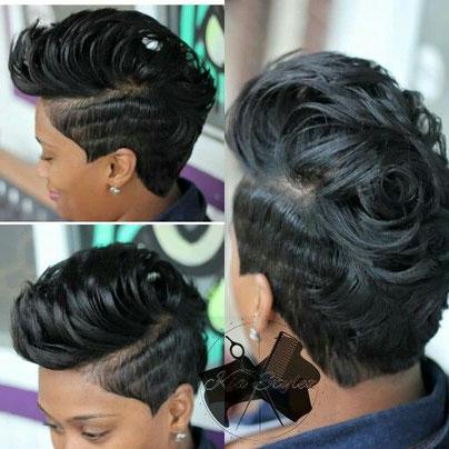 Frange courte greffée à une coiffure à chéveux courts . N°4585. Prix : 15000FCFA