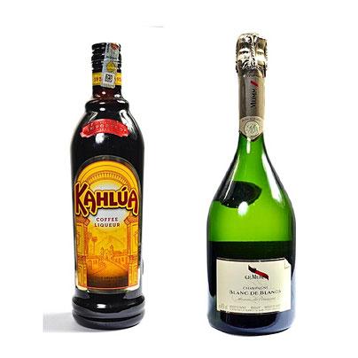 CB-741-Champagne Blanc De Blancs - 75cl + Kahlua Coffee Liqueur - 70cl. Prix : 65500 FCFA
