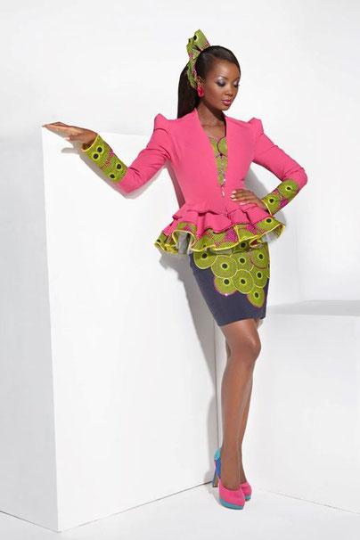 Enssemble veste femme dentélé, jupe Africaine 5688