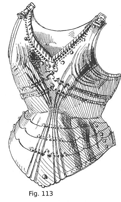 Rücken eines sogenannten gotischen Harnisches des Erzherzogs Sigmund von Tirol. Deutsche Arbeit um 1480.