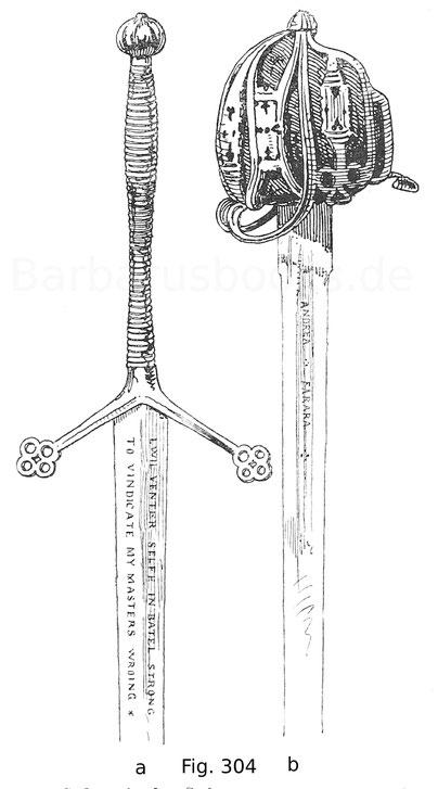 Fig. 304. Schottische Schwerter. A. Claymore mit eisernem Griff. 16. Jahrhundert. B. Schottisches Reiterschwert mit eisernem Griff. 18. Jahrhundert. Nach Drumond, Scotish Weapons.