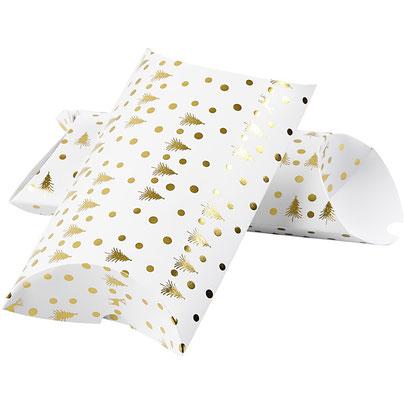 Geschenkverpackung Weihnachten Pillow Box weiss