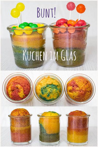 Bunt eingefärbter Kuchen im Glas für den Kindergeburtstag