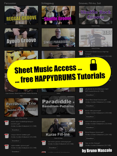 Zugang Noten, Sheet Music Access, Gratis, Free , Tutorials, Happydrums