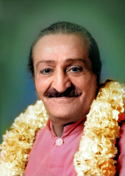 1956 : Trimmed & colourized image of Meher Baba in Washington, DC. by Nagendra Gandhi.