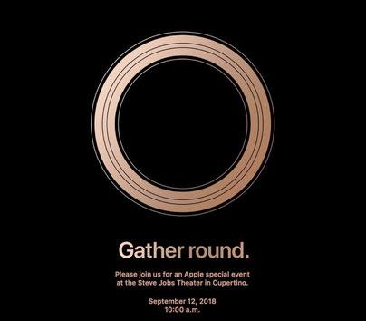 Einladung zur Keynote: Das kreisrunde Symbol könnte ein Hinweis auf die im iFlone verbaute Induktionsspirale aus Kupfer sein.