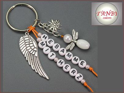 Taschenanhänger, Anhänger, Hebamme, Hebamme mit Herz, Engel, Blume, Flügel, Geschenk, 12.99