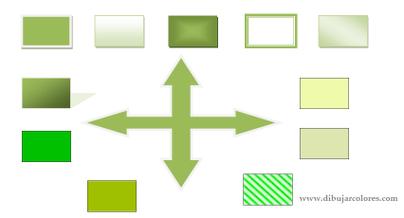 Esquema gráfico de presentación monocromática en distintos matices del mismo color. La gama, de tonalidad verde, es diferente en cada cuadro incluso se incluye  uno con gradiente. Sólo un cuadro tiene el mismo fondo verde y borde que la flecha central.