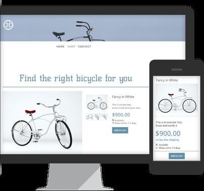 Imagem mostra a visualização para desktop e para smartphones da loja virtual grátis do Jimdo