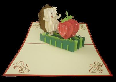 Carte Pop-Up Hérisson et sa fraise - carte pop-up enfant