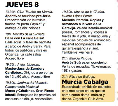 Programa de la Feria de Murcia
