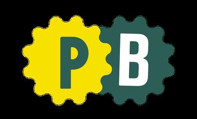 Die Initialien P und B für Petra Böckmann auf einer grünen und einer gelben Fläche, gestaltet von Haello Kommunikationsdesign