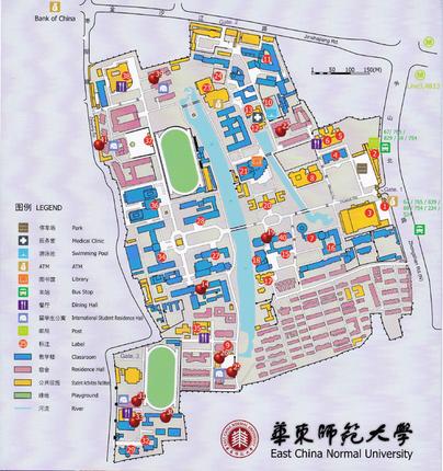 中国上海 華東師範大学 キャンパス図