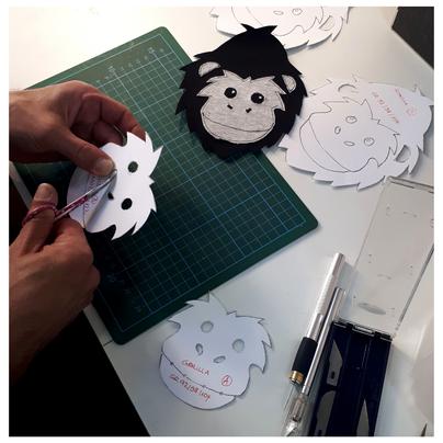Handgefertigte Schablone Applikation Kinderpullover Musterteil Gorilla