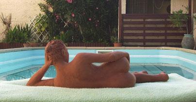 sculpture femme, nue, allongée, sculpture art figuratif,sculpture argile