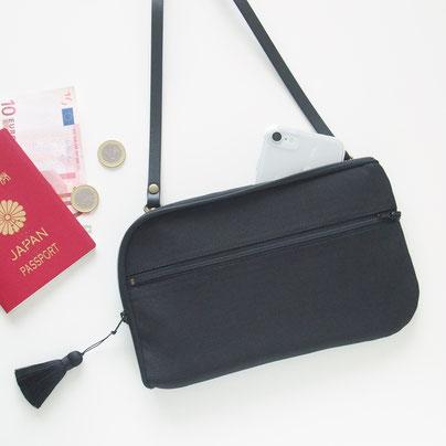 グログラン黒のシンプルなお財布ショルダーバッグ|イシロヨウコのお財布ショルダー専門店