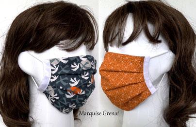 photo-mannequins-2-tete-avec-masque-barriere-textile-lavable-bleu-gris-caramel-moti-colombes-et-etincelles