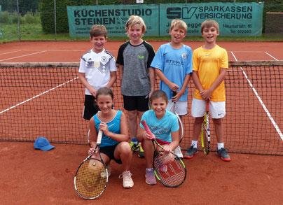 von hinten links: Merlin Strübe, Marvin Wöhrle, Silas Pfäffle, Elias Schubert. vorne knieend: Linda Hlawatschek, Liana Lehmann